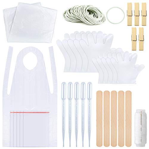 Sntieecr 158 Pieces DIY Tie Dye Kit for Kids Adult Party Group TShirt Fabric TieDye Kits with Two Size Plastic Gloves Rubber Bands Sealed Bags Aprons Protective Tablecloth and Tools