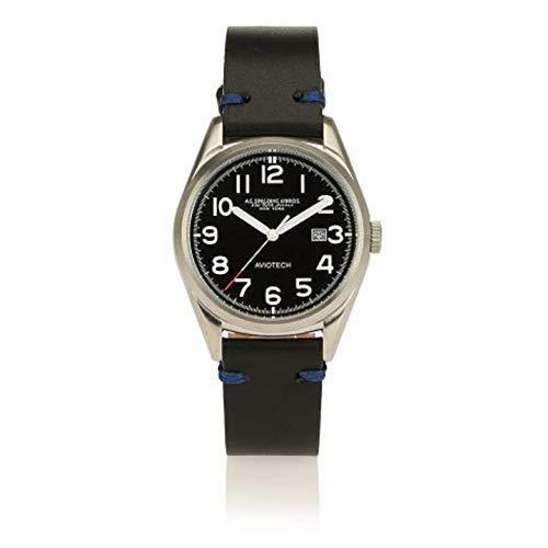 orologio A.G. Spalding&Bros New Aviotech cinturino in cuoio (Nero)