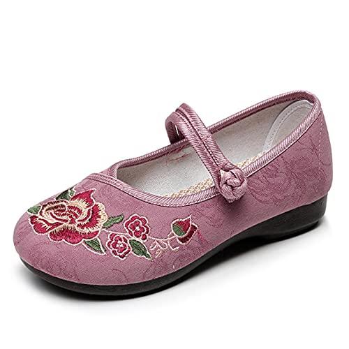 Zapatos De Artes Marciales Bordados A Mano, Zapatillas De Deporte para Mujer, Pisos De Bordado De Antiguo De Estilo Chino Vintage #37 Rosa