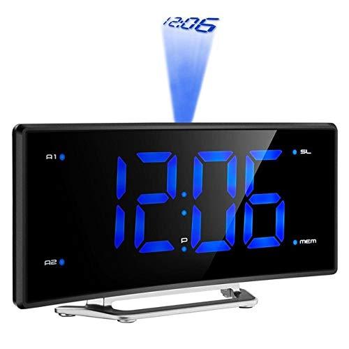 WMC Projektor FM Radiowecker, LED-Digital-Elektronischer Spiegel Tabelle Projektor-Uhr Schreibtisch Nixie-Projektions-Wecker Mit Zeit-Projektion,Schwarz
