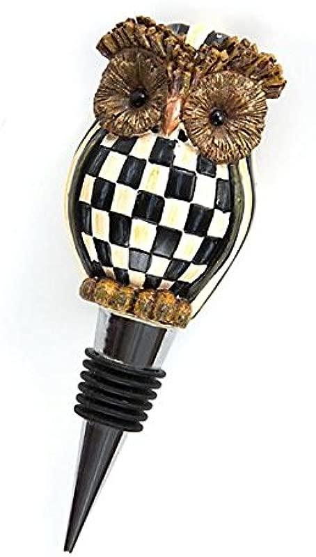 Mackenzie Childs Courtly Check Hoot Owl Bottle Stopper