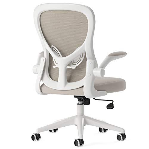 Hbada - Silla de escritorio ergonómica, silla de oficina con reposabrazos abatibles y soporte lumbar, altura ajustable