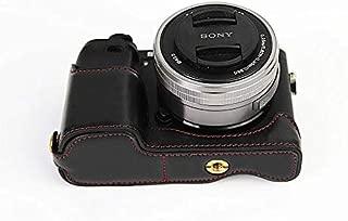 Sony ソニー PEN A6000 A6300 A6400 α6000 α6300 α6400 ソニーアルファ6400 6300 6000 カメラバッグ カメラケース 、Koowl手作りトップクラスのPUレザーカメラハーフケース、Sony ソニー PEN A6000 A6300 A6400 α6000 α6300 α6400 ソニーアルファ6300 6400 6000 カメラ ケース、防水、防振、携帯型、透かし彫りベース+ハンドストラップ(カメラストラップ) (ブラック)