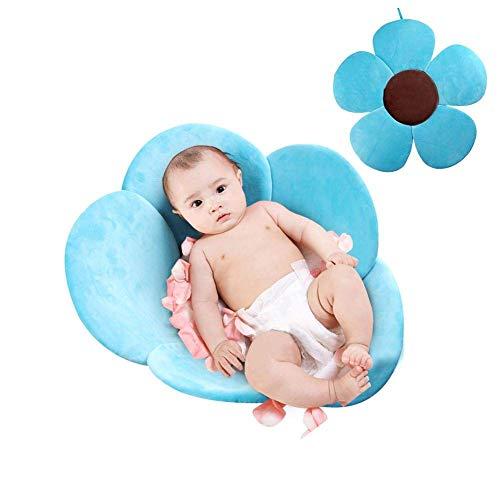 Lelestar Materassino da bagno a forma di fiore, cuscino da bagno per neonati portatile, imbottito e pieghevole, per vasca da bagno (Blu)