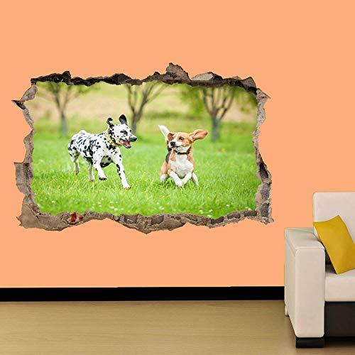 Dos lindos cachorros en el campo Etiqueta de la pared Decoración de la habitación Calcomanía Mural Clase A 60x90cm