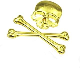USA Shipping 3D Skull Metal Skeleton Crossbones Car Motorcycle Sticker Label Emblem Badge Car Styling Stickers Decal for Harley Honda Yamaha