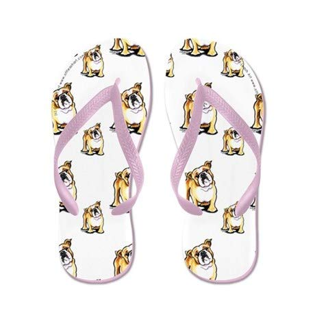 Lplpol Lotsa English Bulldogs Flip Flops for Adults XL with Pink Flip Flops Belt