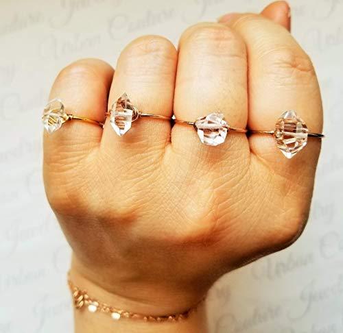 Dainty 14k Rose Gold Ring/Herkimer Diamond Ring