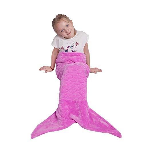 softan Meerjungfrau Schwanz Decke für Kinder, warme Flauschige weiche Flanell Fleece-Decke, All-Saison-Schlafdecke, Mädchen, 43×99cm