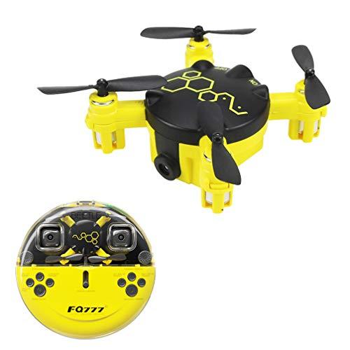 Drone FPV Con Cámaras HD, 2,4G 6 Axis Gyro Mini Quadcopter No WiFi Drone Para Niños, Vídeo En Vivo Gran Angular Ajustable, Retención Altitud, Modo Sin Cabeza, Largo Alcance Control, Carga USB (Yellow)