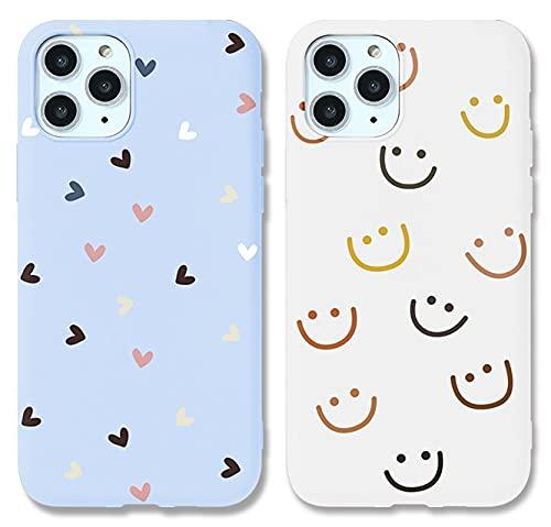 ZhuoFan 2 Piezas Funda para Samsung Galaxy A50 / A30S / A50S Dibujos Blanco Púrpura Silicona Cárcasa Suave TPU Antigolpes Anti-arañazos Ultra Fina Bumper Case Fundas para Samsung A50s 6,4', Smiley 2
