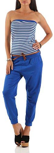 Malito Damen Einteiler gestreift | Overall mit Gürtel | Jumpsuit im Marine Look - Playsuit - Romper 9610 (blau)