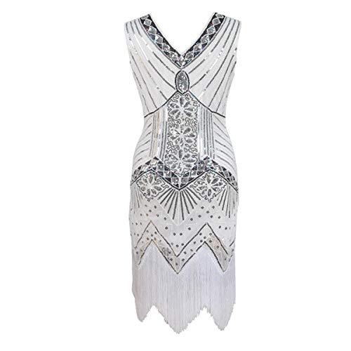 FYMNSI Damen Flapper Kleid Retro 1920er Jahre Stil Great Gatsby Charleston Kleid Quasten Voller Pailletten Abendkleid Vintage 20er V-Ausschnitt Abschlussball Motto Party Fasching Kostüm Weiß XL