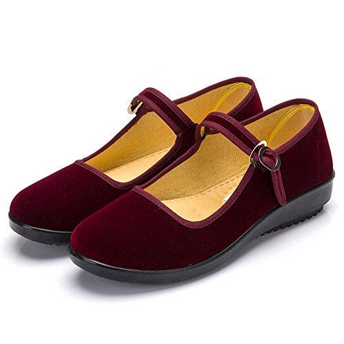 KINDOYO Velvet Bailarina Plataforma Mary Jane para Mujeres Casual Zapatos Sandalias Zapatillas Negro Rojo