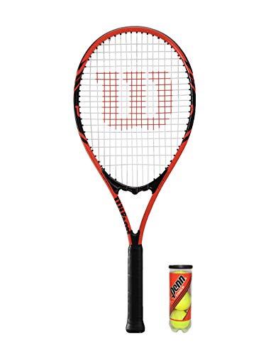 Racchetta da tennis per adulti Wilson Federer + 3 palline (colori assortiti), ., Red, 27'