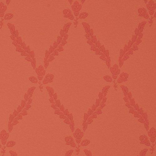 Regent's Park Chatsworth Red Wallpaper Roll with Geometric Leaved Dark Trellis Design
