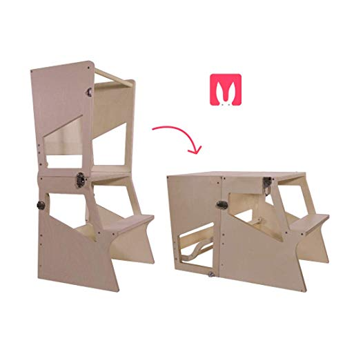 Bianconiglio Kids Moka TRS Learning Tower Montessori transformiert in Tisch - Kitchen Helper (Unbehandeltes Naturholz)