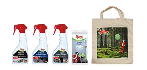 Poliboy Premium PKW Reinigungsset mit Polster Schaumreiniger, Insekten Entferner, Felgen Reiniger und Auto Feuchttücher - Made in Germany