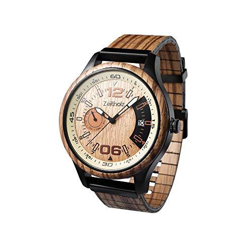 Zeitholz Holzuhr für Herren - Modell Frohnau, handgefertigt aus 100% natürlichem Zebrano mit Quarzwerk - Leichte analoge Uhr mit Holzmaserung für Ihn - Verstellbares Armband passt an jedes Handgelenk