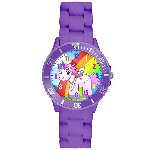 Taffstyle Kinder-Armbanduhr Analog Quarz mit Silikon-Armband Zahlen Einhorn Kinderuhr Lernuhr Sport-Uhr Rainbow Lila