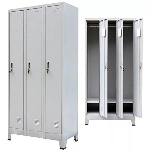 Vislone Armario Taquilla para Oficina o Escuela Armario Archivador de Oficina Armario de Oficina Acero con 3 Compartimentos Carga Máxima por Estante 10kg 90x45x180cm Gris