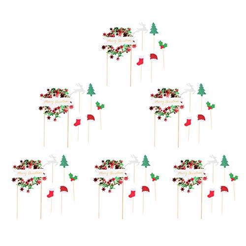 TOYANDONA 6 Bags Christmas Cake Toppers Reindeer Wreath Christmas Tree Cupcake Toppers Christmas Cake Picks Xmas Cake Decoration Christmas Party Favors Party Supplies