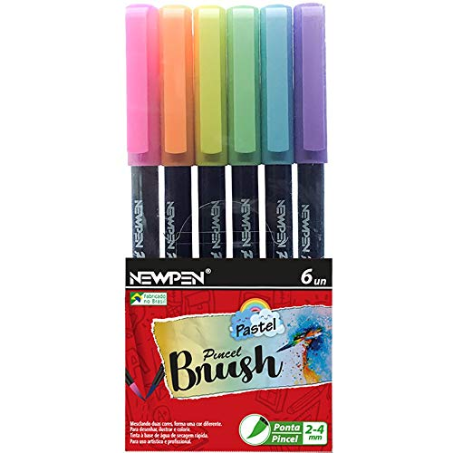 Caneta Ponta Pincel, Newpen, Brush Pen, Pastel, 6 Cores