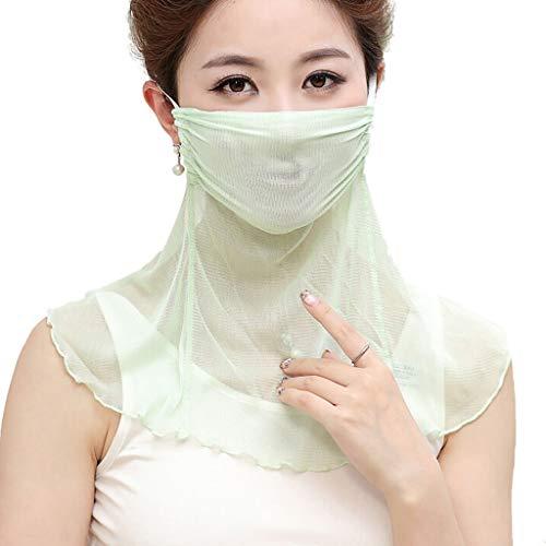 RENTEG Sonnenschutz-Masken, Masken, Schal, Frauen Kleiner Schal, Thin Mulberry Seide gestrickte Lätzchen Ineinander greifen-Gaze (Farbe : Grün)