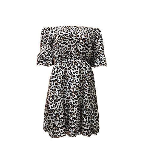 Vestido De Verano Sin Tirantes De Un Solo Hombro para Mujer Vestido De Temperamento con Estampado De Leopardo