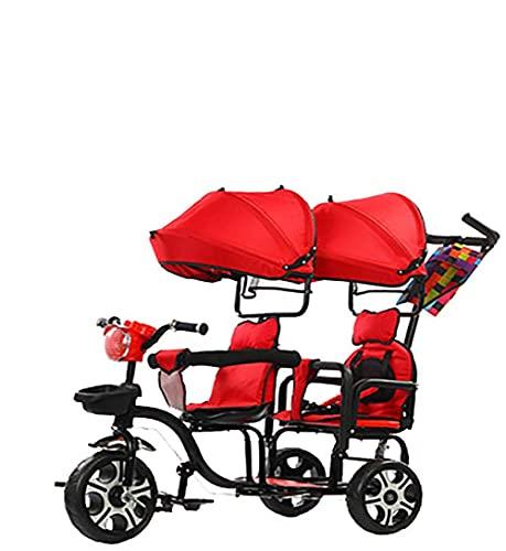 Triciclos TRIKIN TWINS KIDS BEBY TICYCLE 2 BICICLETA DE NIÑOS CON SEGURIDAD DE SEGURIDAD DOBLE GORTINTEBLE, Toldo desmontable, Pedales de pie plegable, Cesta de almacenamiento ampliado, Para niños de