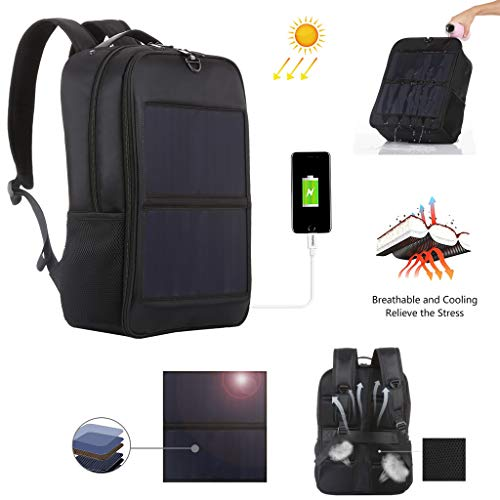 CapsA Solar Backpack Strongest Solar Panel with USB Charging Port Multi-Function Solar Panel Power Outdoor Breathable Backpack Business Travel Backpack Bag Friendly Smart