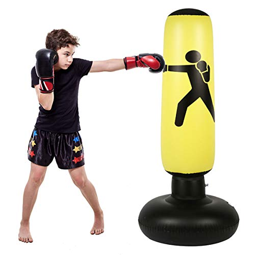 C CRYSTAL LEMON Fitness Punching Bag for Kids, Heavy Punching Bag Inflatable Punching Tower Bag Freestanding Children Fitness Play Adults De-Stress Boxing Target Bag Over 5ft