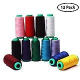 Curtzy 12 Stücke Nähgarn - Polyester Overlockgarn fur Nähmaschinen 16459.2 M mehrfarbige - Ideal zum Nähen, Quilten oder Sticken