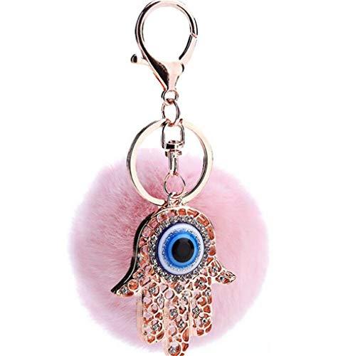 Keychain Schlüsselanhänger Taschenanhänger Strass Elegant Auto-Anhänger Schlüsselring Glitzer mit Strass Palm Blaue Augen Handtaschenanhänger Dekor (Pink)