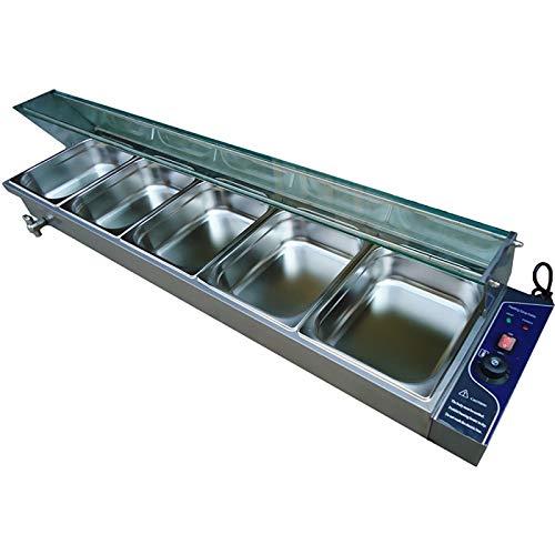 SISHUINIANHUA Réchauffeur de Nourriture électrique de 5 casseroles de comptoir de Soupe de réchauffeur de Vapeur de Buffet d'acier de Casse-croûte d'acier Inoxydable,UK