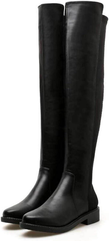 Mamrar Oberschenkel High Stiefel Knight Stiefel Frauen Mode Runde Zehen Splice Low Heel Stovepipe Stretch Stiefel Dress Stiefel EU Gre 34-40