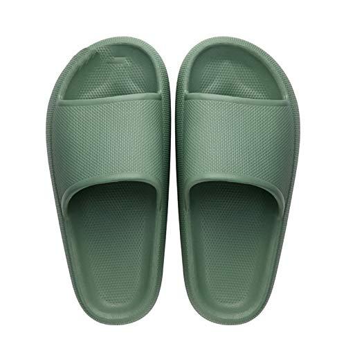 QQSA Kissenrutschen Hausschuhe Superweiche Hausschuhe Unisex Comfort Slide Sandalen Ultraweiche Hausschuhe Badelatschen Schnelltrocknende Dusch (Green, 40/41)