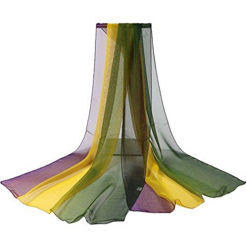 COMVIP Donna Elegante Georgette stampa floreale sciarpa chiffon scialle Sky 160 centimetri * 50cm Style2 Verde Giallo Viola
