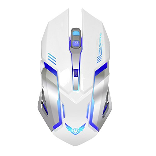 Befullo Wireless Gaming Mouse Ergonomics Portable 2.4G X70 Optical Mice with USB Receiver Colorful Led for PC Laptop (White)