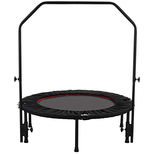 Z ZELUS Trampolin 100cm klappbares Fitness Trampolin mit Haltegriff Jumping Sport Trampolin Indoor Outdoor bis 100kg (Schwarz & Rot)