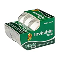(1.9cm x 2540cm /Roll, 4 Refill Rolls) - Duck Brand Matte Finish Invisible Tape Refill for Dispenser, 4 Rolls, Each Roll 1.9cm x 2540cm for 4000 Total Inches