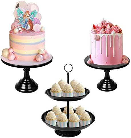 3 Pack Black Cake Stands Set Metal Cupcake Holder Round Dessert Display Plate Serving Platter product image