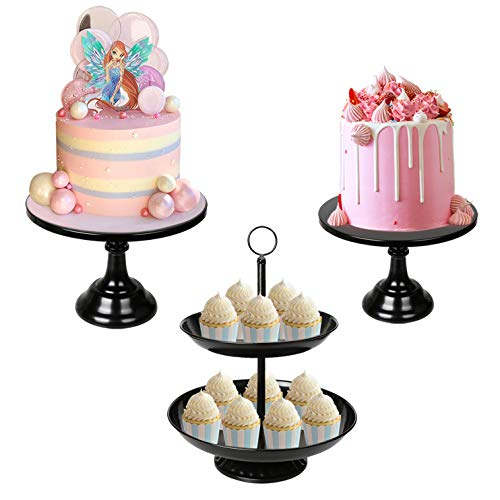 3 Pack Black Cake Stands Set Metal Cupcake Holder Round Dessert Display Plate Serving Platter