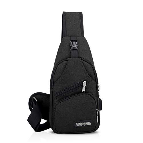 FANDARE Zaino Monospalla Unisexe Borsa a Tracolla Uomo Donna Borsa Sportiva Sling Bag, per Trekking/Ciclismo/Libri/Viaggio/Sports/Alpinismo Nero