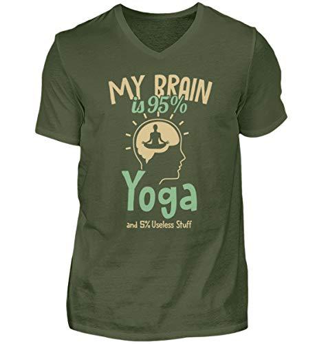Ashtanga Yoga Kundalini Yoga | 00954 - Camiseta para hombre con cuello en V Verde de la ciudad. L