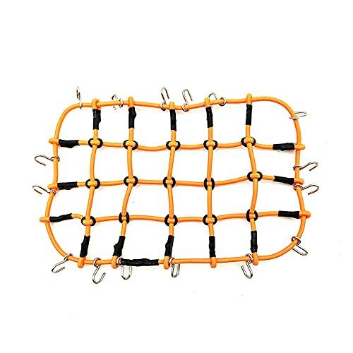 RC Luggage Net, RCPLAGA 1/10 RC Elastic Luggage Net with Hook for 1/10 Scale RC Vehicle Crawlers D90 SCX10 90046 TRX4 Roof Rack (Orange)