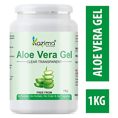 KAZIMA Aloe Vera Gel Raw - 100% Pure Natural Gel - Ideal for Skin, Face, Acne Scars, Hair, Moisturizer & Dark Circles (1 KG)