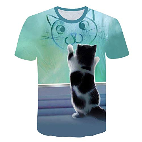 Sunofbeach Unisex 3D Camiseta Divertidas Impresa Personalizada Verano Casual tee Shirts, Graffiti y Cat,XL