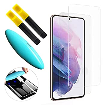 Johncase [2 Pack] Screen Protector Compatible for Samsung Galaxy S21 Plus [Supports Fingerprint Sensor ID] Full Coverage 3D Tempered Glass Film W/UV Liquid Adhesive Light Install Kit [Case Friendly]