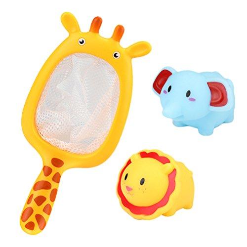 Zhhlinyuan Jouets aquatiques Set of 3 Bébé Bathroom Toys Fishing Net Childrens Bath Funny Sounding Toys